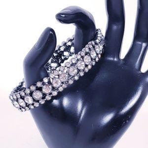 Stretch Bracelet w/ Crystals, Hematite Black